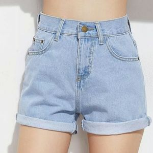 High waistes denim shorts